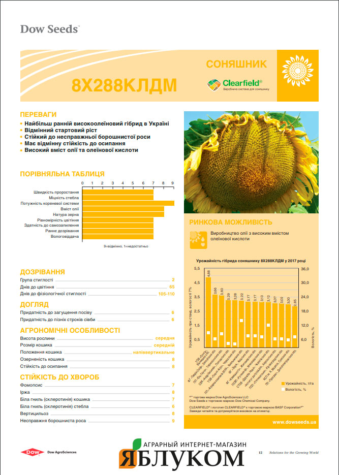 Семена подсолнечника 8Х288КЛДМ
