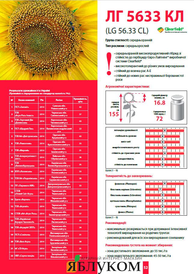 Семена подсолнечника ЛГ 5633 КЛ